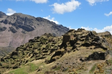 The ruins of Ankasmarka high above Calca. They were a food distribution center for the Incan Empire.